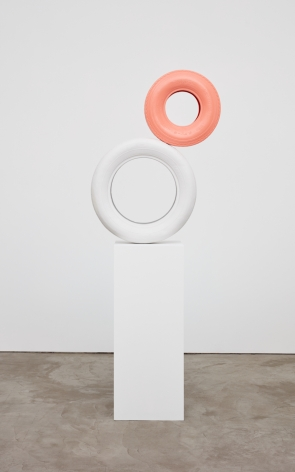 Jon Pylypchuk, Pink Eye, 2018. Bronze and enamel paint on wooden plinth, 31 x 38 x 7 1/2 in, 78.7 x 96.5 x 19.1 cm. Unique Edition of 3 of plus 2 AP (JPY18.001)