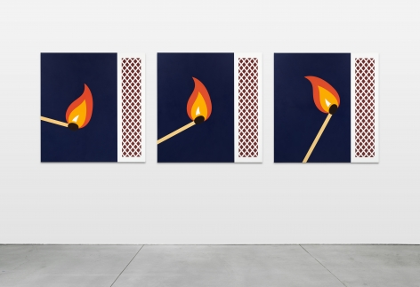 Thomas Wachholz, Super Flame, 2020. Acrylic and red phosphorous on canvas, Triptych: 43 1/4 x 41 3/8 in (each), 110 x 105 cm (TW20.048)