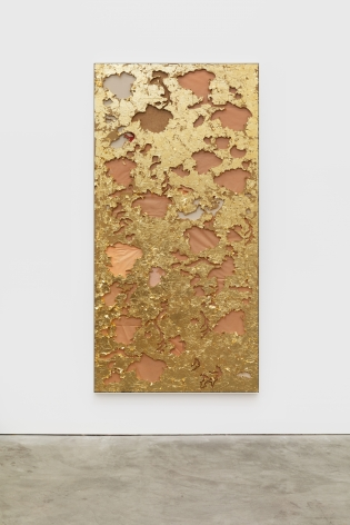 Cindy Phenix Proper Ending, 2020 Gold leaves, paper, oil and pastel on MDF 96 x 48 in 243.8 x 121.9 cm (CP20.024)