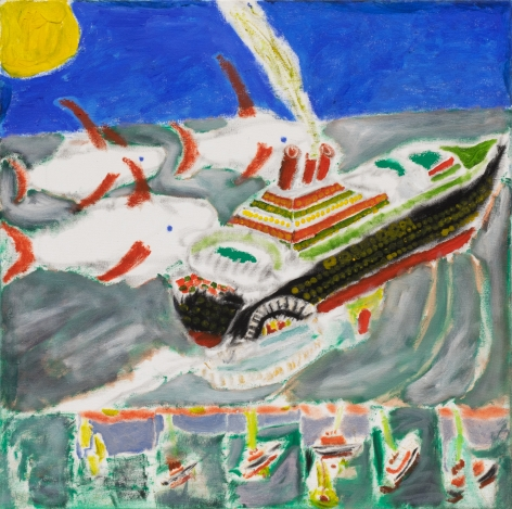 Raynes Birkbeck, The Rising of Poseidon II, 2019. Oil and acrylic on canvas, 24 x 24 in, 61 x 61 cm (RBI20.017)