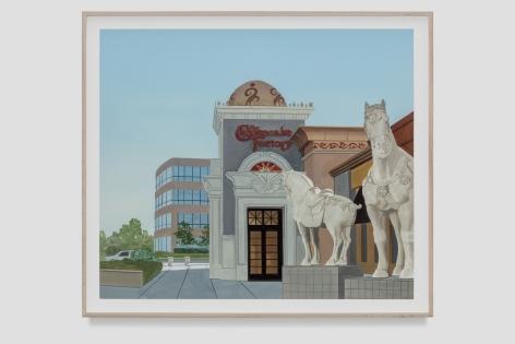 Jake Longstreth Galleria Painting, 2021 Oil on paper 18 3/4 x 22 inches (unframed) 47.6 x 55.9 cms (unframed)  21 1/4 x 24 1/4 inches (framed) 54 x 61.6 cms (framed) (JLO21.025)