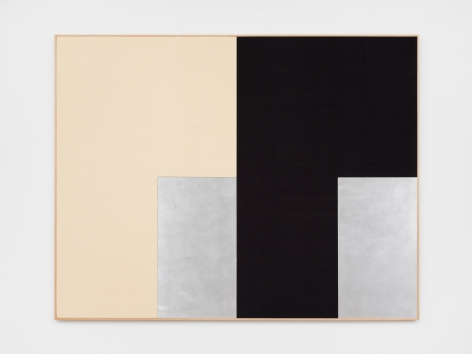 Ethan Cook, Arenas, 2020. Hand woven cotton and linen, aluminum, framed 74 x 96 in, 188 x 243.8 cm (ECO20.032)