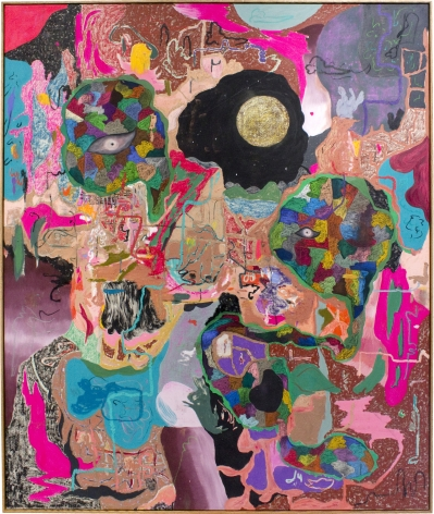 Michael Bauer Mud Cave and White Moon, 2019 Oil, crayon, pastel and acrylic on canvas 71 x 60 in 180.3 x 152.4 cm (MB19.019)