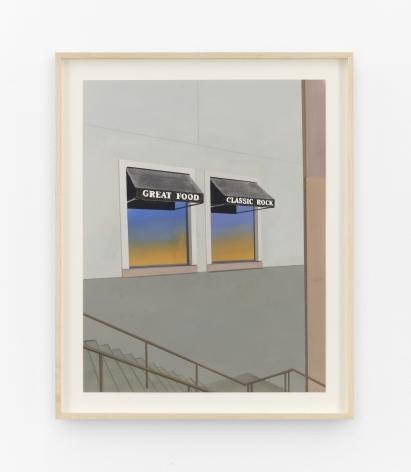Jake Longstreth Great Food Classic Rock, 2021 Oil on paper 16 3/4 x 13 1/8 in (unframed) 42.5 x 33.3 cm (unframed)  19 1/2 x 15 3/4 inches (framed) 49.5 x 40 cms (framed) (JLO21.026)