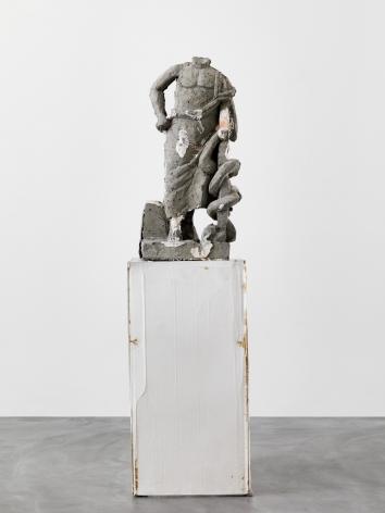 Justin Matherly It's ok to limp, 2016 Concrete, modified gypsum, modified ambulatory equipment, paracord (sunrise camouflage) figure: 39 x 18 1/4 x 16 3/8 in 99.1 x 46.4 x 41.6 cm base: 43 1/2 x 21 7/8 x 28 3/8 in 110.5 x 55.6 x 72.1 cm sculpture: 82 1/2 x 21 7/8 x 28 3/8 in 209.6 x 55.6 x 72.1 cm (JMA21.001)