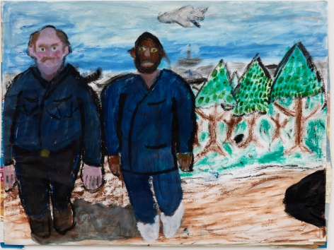 Raynes Birkbeck, Incoming Outgoing Presidents; Denny In, Jesus Out, 2019. Oil stick and acrylic on paper, 18 x 24 in, 45.7 x 61 cm (RBI20.005)
