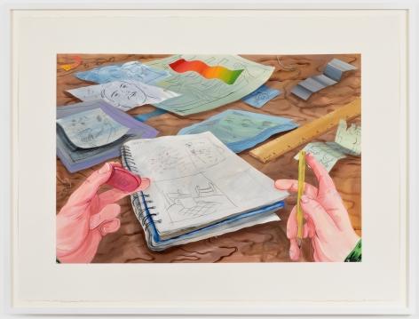 Rebecca Ness Desk, 2020. Gouache and graphite on paper, 22 x 30 in, 55.9 x 76.2 cm, 24 5/8 x 32 3/4 in (framed), 62.5 x 83.2 cm (RNE20.027)