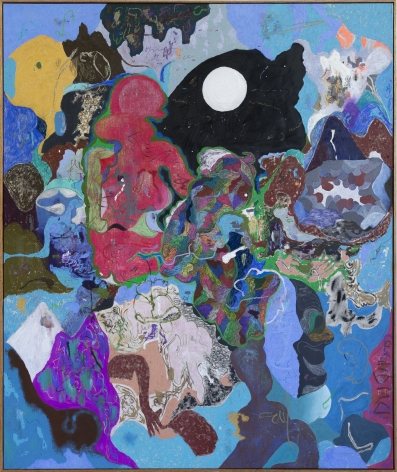 Michael Bauer Blue Cave and Moon, 2019 Oil, crayon, pastel and acrylic on canvas 73 x 61 in 185.4 x 154.9 cm (MB19.005)