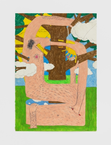 Matthew Sweesy By the yellow light we as trees are woven, 2020 Colored pencil on paper 44 x 30 in 111.8 x 76.2 cm (MSW20.003)