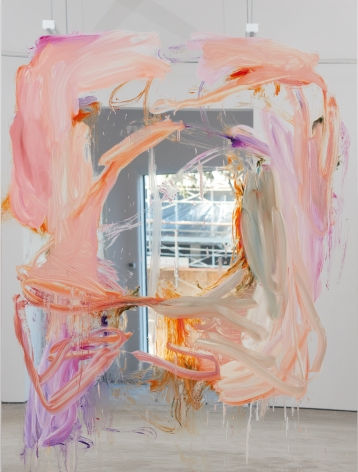 Peter Bonde, Untitled, 2016. Oil on mirror foil, 98.43 x 74.8 x 1.6 inches, 250 x 190 x 4 cm (PB16.002)