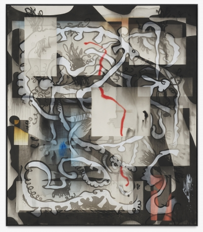 Jan-Ole Schiemann, o.T.(virtuell), 2018. Ink and acrylic on canvas, 70 7/8 x 61 1/8 in, 180 x 155 cm (JS18.005)
