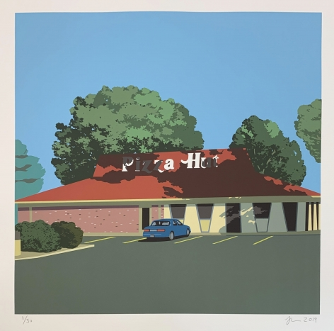 Jake Longstreth, Summer of '87, 2019. Signed, numbered and dated 25 color silkscreen on Rives BFK paper. 30.5 x 30 in, paper 22 x 22 in, image Edition of 50 (JLO20.001)
