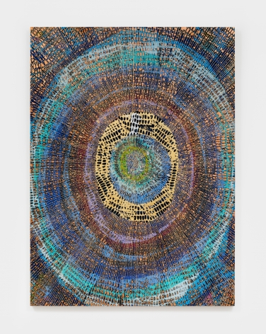 Mindy Shapero  Scar of Midnight Portal: Intergalactic 13, 12, 19, 2021  Spray paint, gold, silver, and copper leaf on Belgium linen  60 x 44 in152.4 x 111.8 cm(MS21.021)