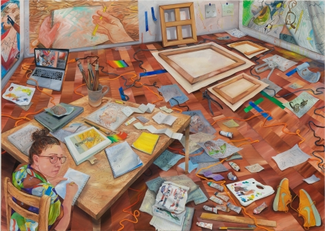 Rebecca Ness, I See You, 2020. Oil and colored pencil on linen, 85 x 120 in, 215.9 x 304.8 cm (RNE20.009)