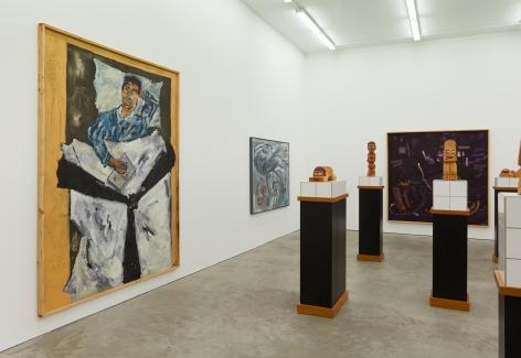 """Installation View of """"Werner Büttner Works from the Eighties"""" (2019), specifically highlighting """"Selbst bei Ich könnt' im Bett verfaulen"""""""