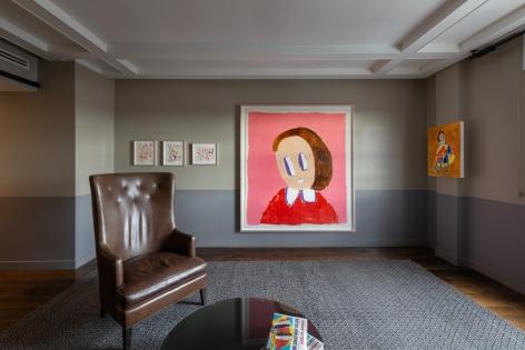 André Butzer, FELIX LA 2019, Installation view, Left wall