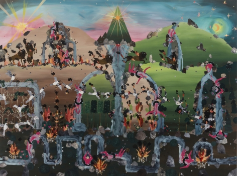 Andrea Joyce Heimer The 1988 Wildfires In Montana Were Caused, In Part, By Unattended Campfires, And Burned All Summer Long Until It Seemed The Whole World Was Aflame, 2019 Acrylic on panel 80 x 60 in 203.2 x 152.4 cm (AJO19.001)