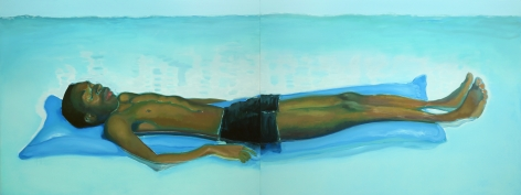 Jonathan Wateridge Lilo, 2018 Oil on linen 59 1/8 x 157 1/2 in, two parts 150 x 400 cm, two parts (JWA20.001)