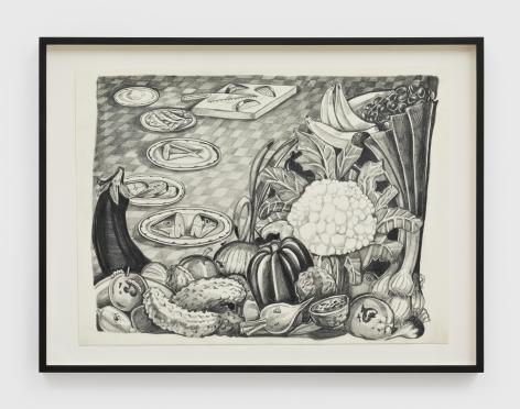 Nikki Maloof Vegetable Study, 2021 Graphite on paper 11 1/2 x 15 1/2 in (unframed) 29.2 x 39.4 cm (unframed) 14 x 18 1/2 x 1 1/2 in (framed) (NMA21.008)