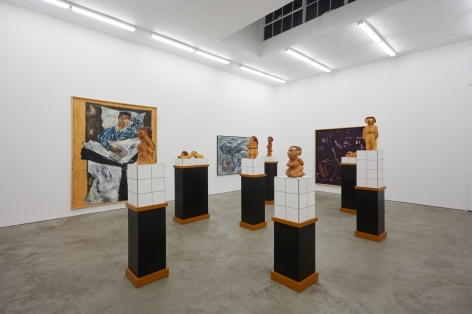 """Installation View of """"Damenbad KPX"""" series of sculptures from a Left Angle"""