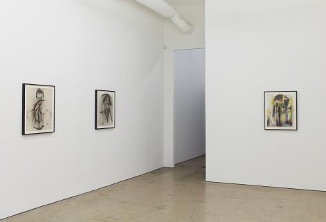 """Installation View of """"Eine phantastische Erinnerung….."""", """"Stein im Hirn, Leben auf der Stirn (Face Farces)"""", and """"Zick"""""""