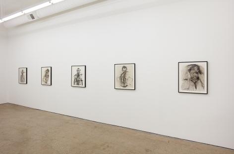 """Installation View of """"Schrei"""", """"Body-Pose"""", """"Siegel Sagel…."""", """"Eine phantastische Erinnerung….."""", """"Stein im Hirn, Leben auf der Stirn (Face Farces)"""" Angled View"""