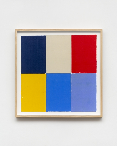Ethan Cook, Two blues, red, yellow, alabaster, periwinkle, 2020. Handmade pigmented paper 19 3/4 x 19 1/2 in, 50.2 x 49.5 cm (ECO20.027)