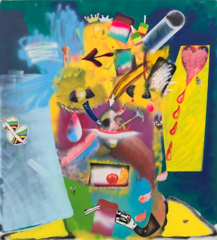Alessandro Pessoli, Bunker, 2019. Oil, spray paint, oil stick, oil pastels on canvas, 57 x 63 in, 144.8 x 160 cm (AP19.013)