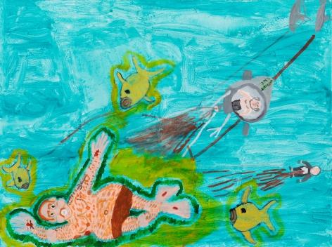 Raynes Birkbeck, Fun on the Beach, 2020. Oil and acrylic on canvas, 36 x 48 in, 91.4 x 121.9 cm (RBI20.007)