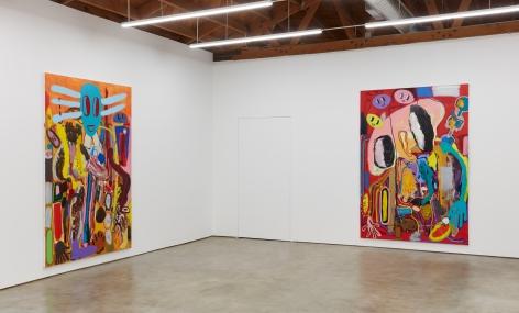 """Installation View of """"Ernst Ludwig Kirchner Hinrichtung im Jahre 1999"""" and """"Moshé Feldenkrais Pastrami Portrait (abstraktes Bild 1A)"""""""