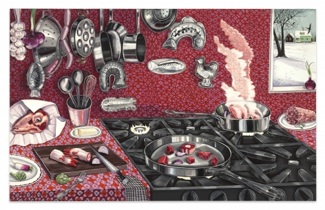 Nikki Maloof The Red Interior (View From My Studio), 2021 Oil on linen 60 x 96 in 152.4 x 243.8 cm (NMA21.013)