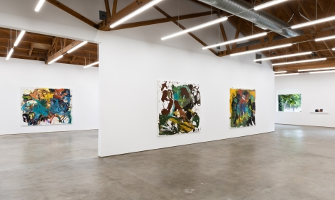 """Installation View of """"Eye Beep"""", """"A Foot In Each Corner"""", and """"One Afternoon"""""""