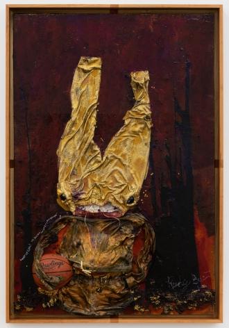 Jon Pylypchuk, TBT, 2020. Mixed media on linen on panel, 48 x 72 in, 121.9 x 182.9 cm (JPY20.003)