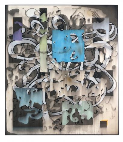 Jan-Ole Schiemann, Blue Pretender, 2018. Ink and acrylic on canvas, 90 1/2 x 78 3/4 in, 230 x 200 cm (JS18.002)