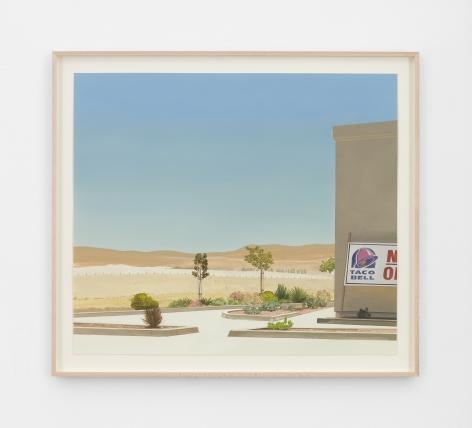 Jake Longstreth Untitled California Landscape II, 2021 Oil on paper 20 1/4 x 23 1/4 in (unframed) 51.4 x 59.1 cm (unframed)  23 x 26 inches (framed) 58.4 x 66 cms (framed) (JLO21.030)