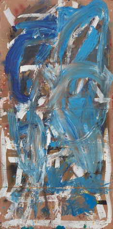 Spencer Lewis, Woman, 2014-2015. Mixed media on cardboard, mounted on canvas 96 x 48 inches (SL15.001)