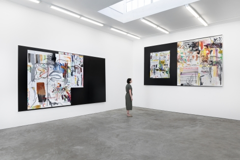 """Installation View of """"Hi_LoRes_57"""", """"Hi_LoRes_30"""" and """"Hi_LoRes_67"""" with a Woman standing next to them for Scale"""