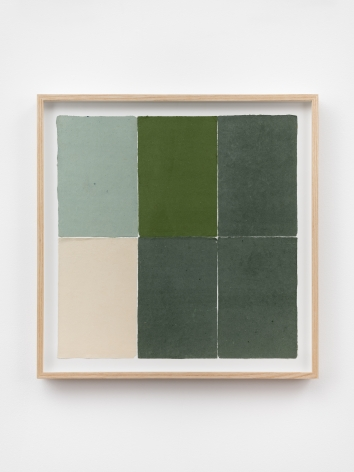 Ethan Cook, Five greens, an alabaster, 2020. Handmade pigmented paper 19 3/4 x 19 1/2 in, 50.2 x 49.5 cm (ECO20.052)