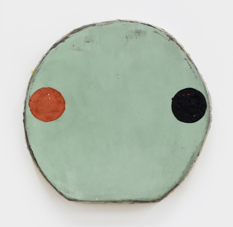 Otis Jones Red Oxide and Black Circles on Green, 2021 Acrylic on linen on wood 19 x 20 x 3 in 48.3 x 50.8 x 7.6 cm (OJO21.009)
