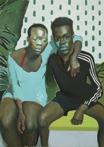 Jonathan Wateridge Couple By Wall, 2018 Oil on linen 66 7/8 x 47 1/4 in 170 x 120 cm (JWA20.004)
