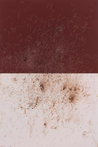 Thomas Wachholz, LUCIFER C (Reibfläche), 2017. Red phosphorous, binder and cardboard on wood, 82.7 x 55.1 x 1.4 in, 210 x 140 x 3.5 cm (TW17.013)