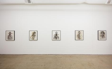 """Installation View of """"Schrei"""", """"Body-Pose"""", """"Siegel Sagel…."""", """"Eine phantastische Erinnerung….."""", """"Stein im Hirn, Leben auf der Stirn (Face Farces)"""""""