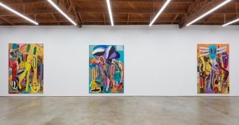 """Installation View of """"Abstraktes Bild Nr. 4710d"""", """" Wer hat Dr. Pfeffer erfunden?,"""", and """"Ernst Ludwig Kirchner Hinrichtung im Jahre 1999"""""""