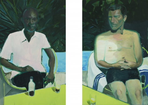 Jonathan Wateridge Patio Men, 2018 Oil on linen 63 x 78 3/4 in, two parts 160 x 200 cm, two parts (JWA20.005)