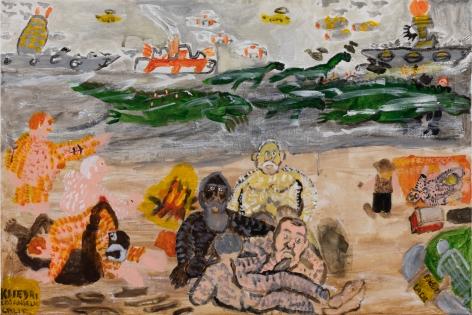 Raynes Birkbeck, Beach Plus the Fleet, 2020. Oil and acrylic on canvas, 24 x 36 in, 61 x 91.4 cm (RBI20.018)
