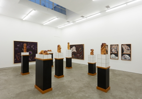 """Installation View of """"Damenbad KPX"""" series of sculptures from a Right Angle"""