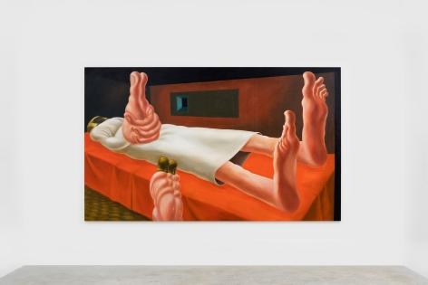 Louise Bonnet Interior with Orange Bed, 2021 Oil on linen 72 x 120 in 182.9 x 304.8 cm (LB21.010)