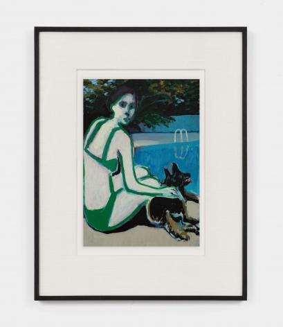 Jonathan Wateridge Woman with Dog II, 2021 Oil on digital print of work in progress 15 1/2 x 13 x 1 1/2 in (framed) 39.4 x 33 x 3.8 cm (framed) 9 1/2 x 7 1/8 in (unframed) 24 x 18 cm (unframed) (JWA21.037)