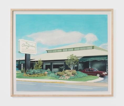Jake Longstreth The First Olive Garden, 2021 Oil on paper 19 x 22 1/2 in (unframed) 48.3 x 57.1 cm (unframed) (JLO21.013)