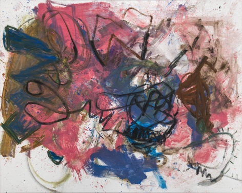 A large-scale abstract painting by Anke Weyer, which includes paint strokes in pink, blue, brown, and black.